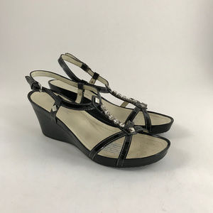 GEOX Patent Leather Wedge Sandal with Rhinestones
